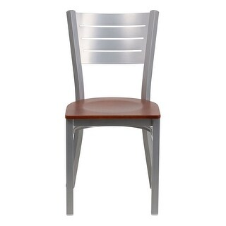 Offex HERCULES Series Silver Slat Back Metal Restaurant Chair - Cherry Wood Seat [OF-XU-DG-60401-CHYW-GG]