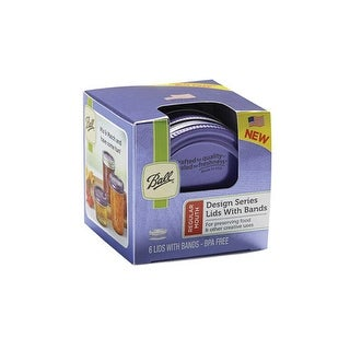 Ball 1440030030 Regular Mouth Lids and Bands, Purple