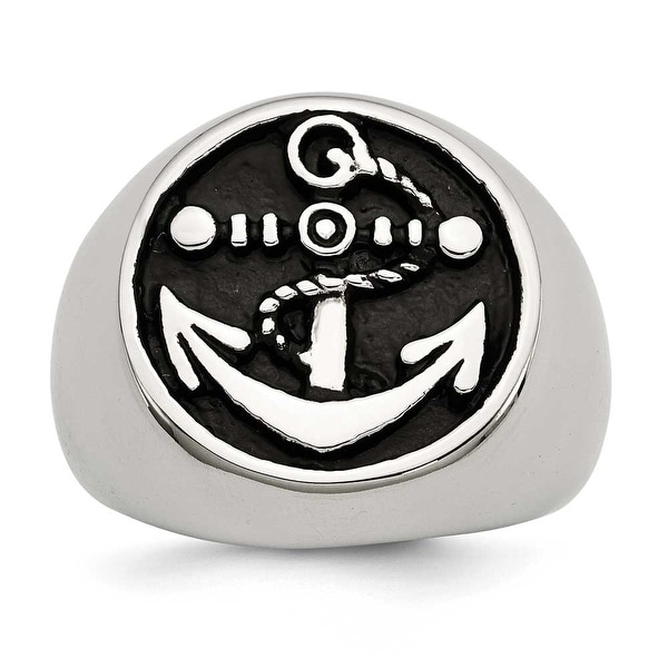 Chisel Stainless Steel Antiqued and Polished Anchor Ring