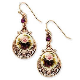 Rosetone Dark Red Crystal Round Drop Earrings