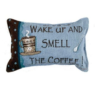 "12"" Wake Up and Smell the Coffee Decorative Tapestry Accent Throw PIllow"