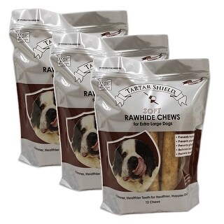 Tartar Shield Soft Rawhide Chews for Extra Large Dogs 12 Count 3 Pack