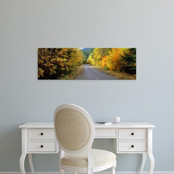 Easy Art Prints Panoramic Images's 'Autumn trees along road in Mt Hood National Forest, Oregon, USA' Canvas Art