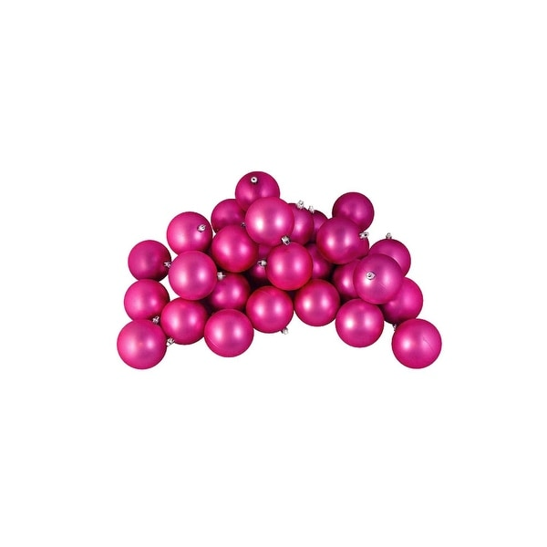 "32ct Matte Pink Magenta Shatterproof Christmas Ball Ornaments 3.25"" (80mm)"