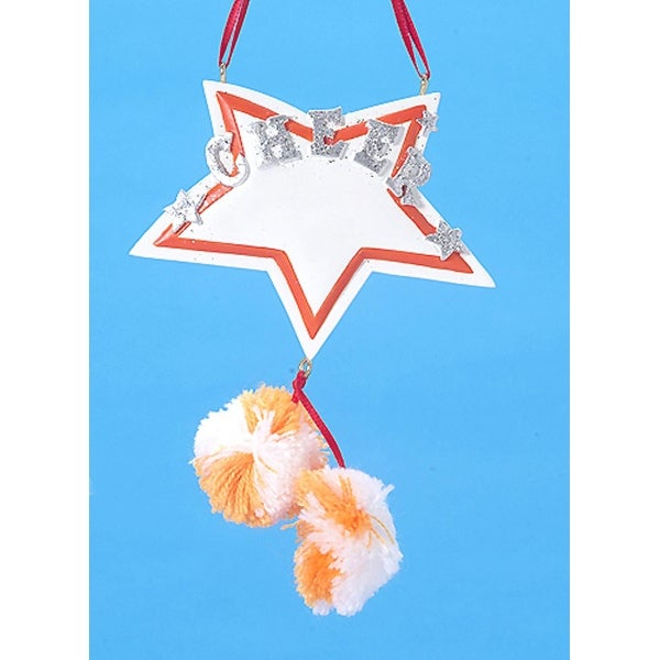 "3.5"" Orange and White Star with Pom-Pom's Cheerleader Christmas Ornament #W3765OW"