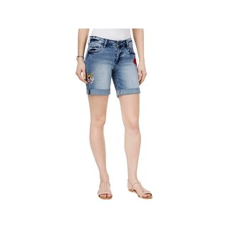 Kut From The Kloth Womens Catherine Denim Shorts Boyfriend Patched Blue 10