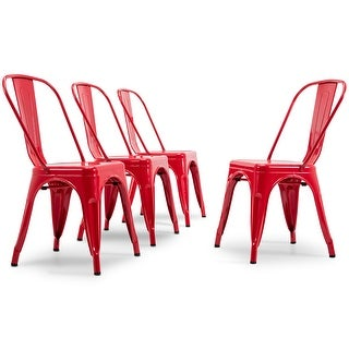 BELLEZE Set of (4PC) Industrial Restaurant Cafe High Backrest Vintage Style Dining Chair Stackable Chairs, Red