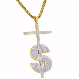 """Dollar Sign $ Cross Pendant Iced Out 18K Gold Tone Simulated Diamond 24"""" Chain"""