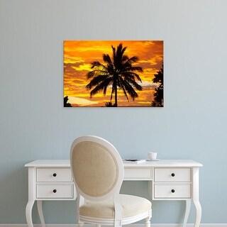 Easy Art Prints Douglas Peebles's 'Palm Tree In Sunset' Premium Canvas Art