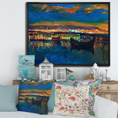Designart 'Two Little Boats In The VIllage Harbor' Nautical & Coastal Framed Canvas Wall Art Print