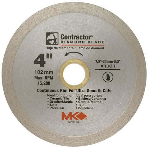 "MK Diamond 167027 Contractor Continuous Rim Diamond Blade, 4"""