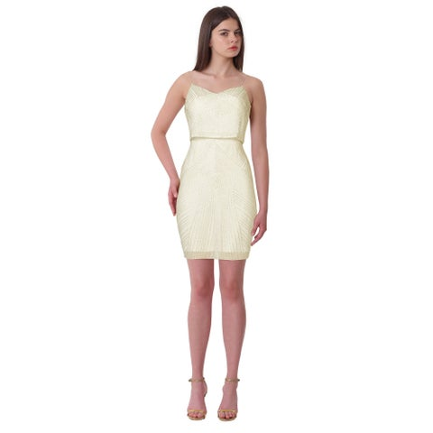Aidan Mattox Spaghetti Strap Popover Beaded Cocktail Dress Ivory