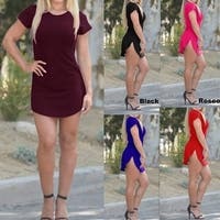 NEW Women Bodycon Side Slit Short Sleeve Evening Formal  Party Cocktail Short Mini Dress