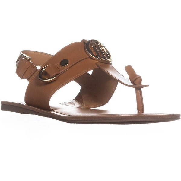 exclusive range first look lower price with Shop Tommy Hilfiger Luvee Flat Ankle Strap Sandals, Dark Brown ...