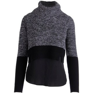 T Tahari Womens Emily Colorblock Cowl Neck Pullover Sweater - XL