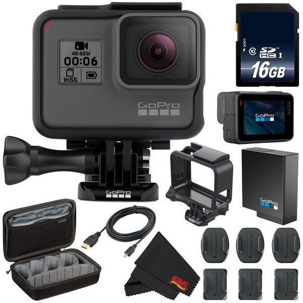 GoPro HERO6 Black + Custom GoPro Case and GoPro Accessories Bundle