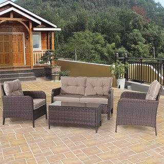 Shop Costway 4 Pcs Outdoor Patio Rattan Wicker Furniture