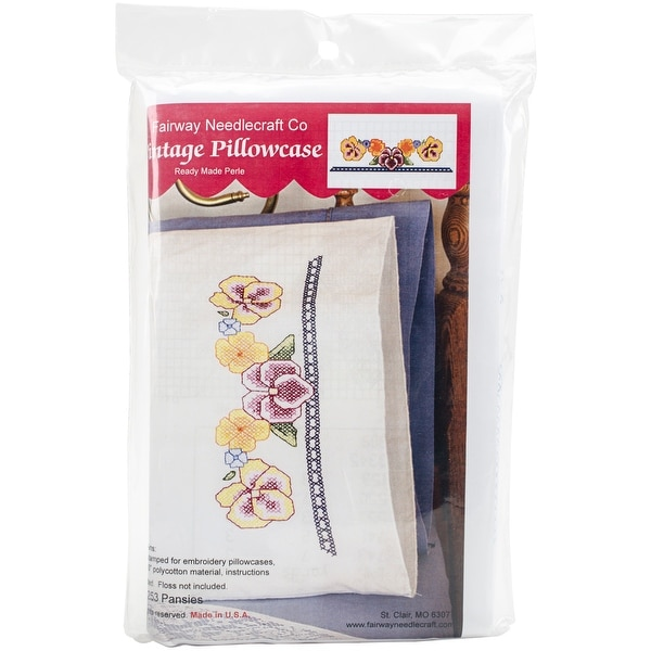 "Stamped Perle Edge Pillowcases 30""X20"" 2/Pkg-Pansies"