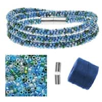 Refill - Beaded Kumihimo Wrap Bracelet Kit-Blue Tone - Exclusive Beadaholique Jewelry Kit