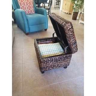 Wonderful ... BirdRock Home Espresso/Honey Seagrass Rattan Woven Storage Ottoman ...
