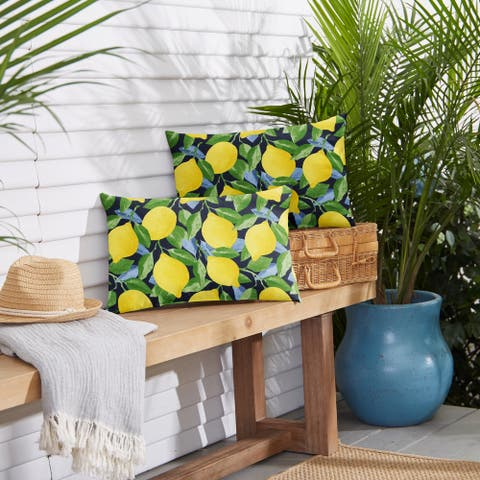 Yellow Lemons Indoor/ Outdoor Pillows (Set of 2)