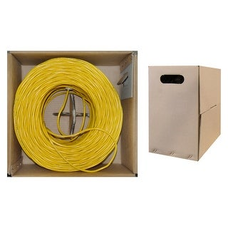 Offex Bulk Cat5e Yellow Ethernet Cable, Stranded, UTP (Unshielded Twisted Pair), Pullbox, 1000 foot