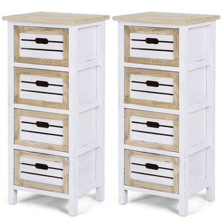 Costway 2PCS Wooden Chest Bedside Table Nightstand Cabinet Side End Table W/4 Drawer - as pic