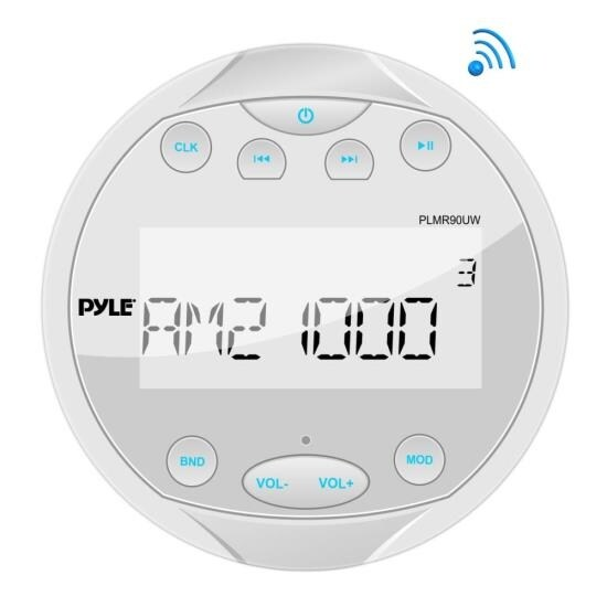 Waterproof Bluetooth Marine Digital Media Receiver Stereo Radio (USB/MP3 & AUX Inputs) AM/FM Radio, Round/Circle, White