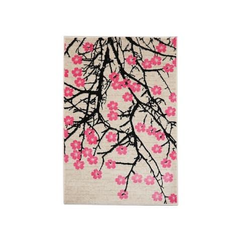 LoomBloom Persian Polypropylene Fleur Modern & Contemporary Oriental Area Rug Pink Color