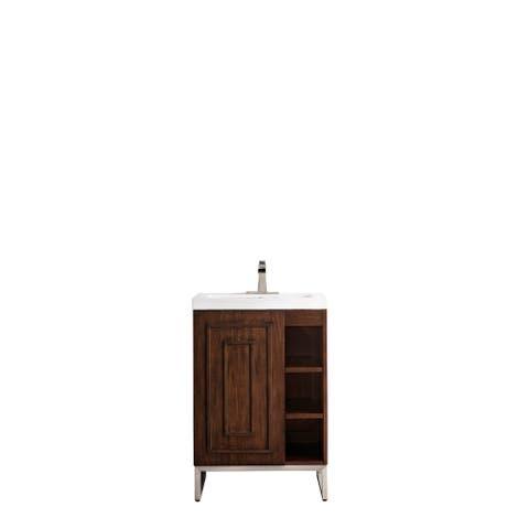 "Alicante' 24"" Single Vanity Cabinet, Mid-Century Acacia, w/White Glossy Resin Countertop"