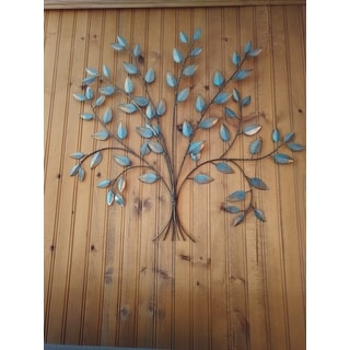 Shop Stratton Home Decor Tree Of Life Teal Gold Tone Metal Wall Decor Overstock 16836296