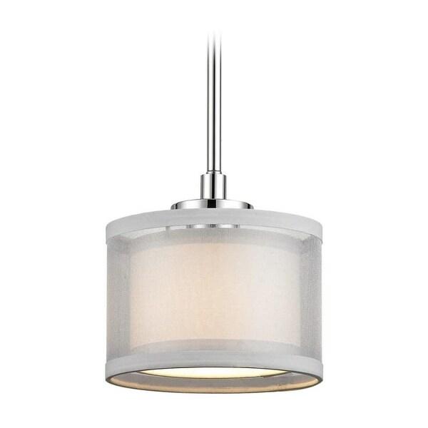 "Dolan Designs 1271 Double Organza 7"" Wide Single Light Mini Pendant with Dual Drum Shades"