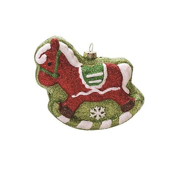 """4.75"""" Merry & Bright Red, Green and White Glitter Shatterproof Rocking Horse Christmas Ornament"""