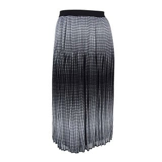 NY Collection Women's Pleated Chiffon Maxi Skirt (XL, Black/White) - XL