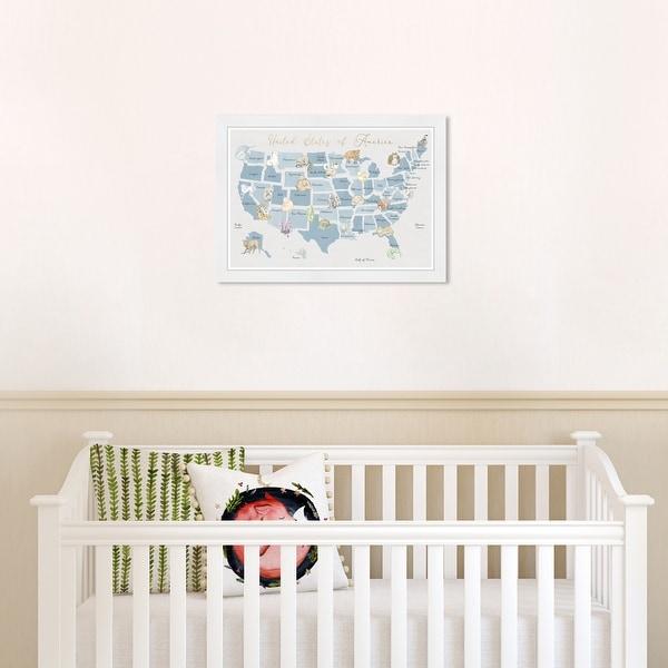 Olivia's Easel 'Wildlife Map II' Kids Wall Art Framed Print Blue,White. Opens flyout.