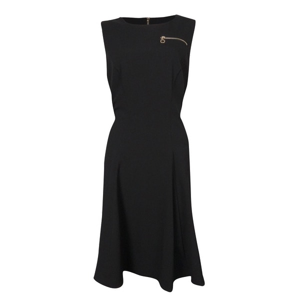 7c46e002a30b Shop Calvin Klein Women's Zip Faux Pocket Solid Swing Dress - Black - 4 -  Free Shipping On Orders Over $45 - Overstock.com - 15017408