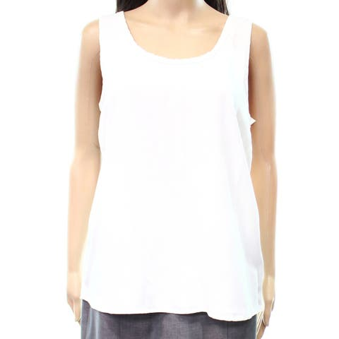 Caslon Classic White Womens Size XL Scoop Neck Solid Tank Top