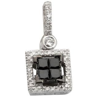Brand New 0.40 Carat Princess Cut Black Diamond With Round Diamond Square Pendant