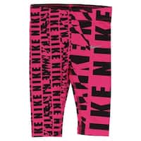 Nike Baby Girls Club Allover Print Capri Leggings Hot Pink - Hot Pink/Black - 2t
