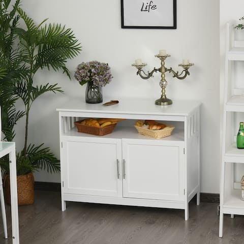 HOMCOM Kitchen Console Table, Buffet Sideboard, Wooden Storage Table with 2-Level Cabinet and Open Space