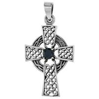 Sterling Silver Celtic Cross Necklace Black CZ, 1 1/2 inch tall