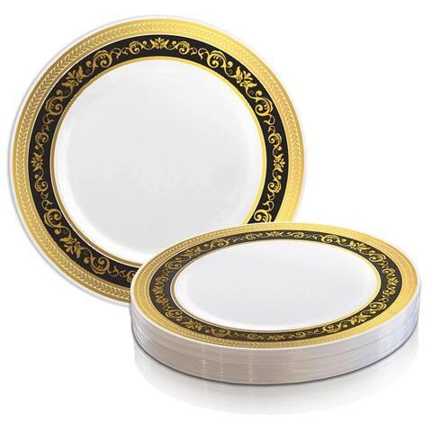 Shiny Royal Rim Disposable Plastic Plate Packs - Party Supplies