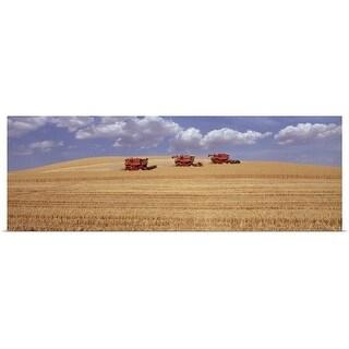"""Three combines harvesting wheat field, summer"" Poster Print"