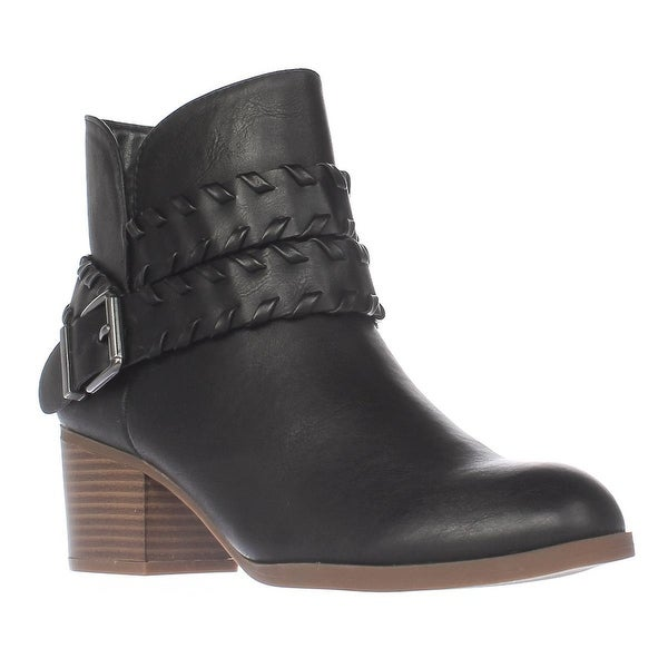 SC35 Dyanaa Stitched Harness Ankle Boots, Black