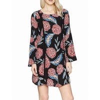 Roxy Black Women's Size Large L Bell Sleeve Floral Shift Dress