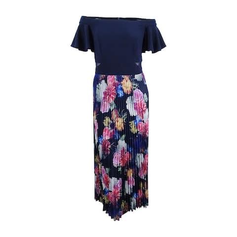 Xscape Women's Plus Size Pleated Floral Off-The-Shoulder Gown - Navy Multi