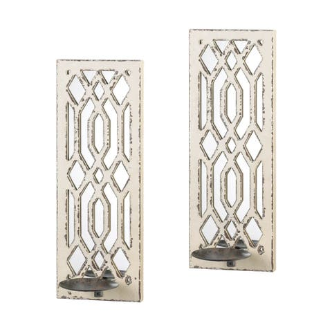 Retro Deco Mirror Wall Sconce Set