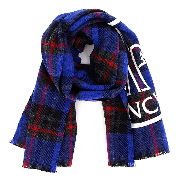 Moncler Mens Blue Check Logo Scarf. Opens flyout.