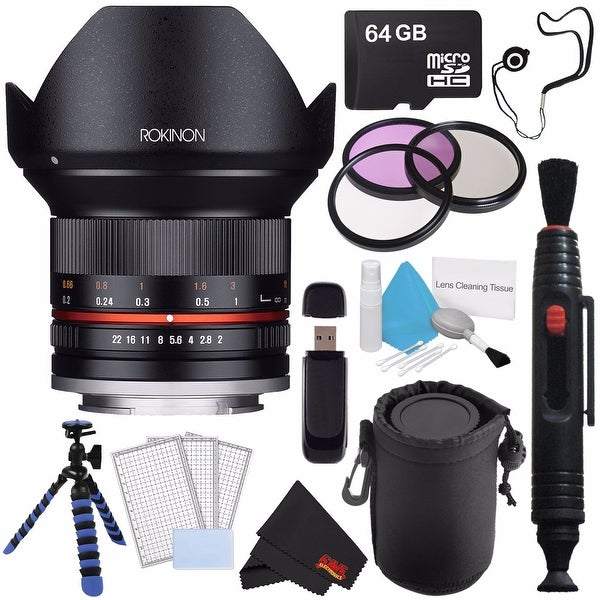 Rokinon 12mm f/2.0 NCS CS Lens for Sony E Mount (Black) RK12M-E + Deluxe Lens Pouch + 3pc LCD Screen Protectors Bundle