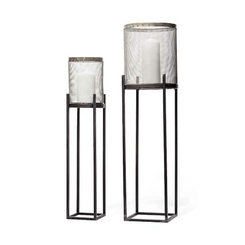 Mercana Steen Set of Two Black Meshed Metal Candle Holder Lanterns